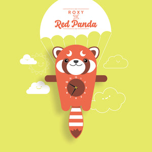 Red Panda Wall Clock with pendulum tail - Oddly Wild