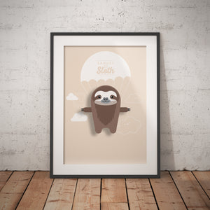 Samuel the Sloth Animal Print - Instant Digital Download - Oddly Wild