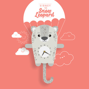 Snow Leopard Wall Clock with pendulum tail - Oddly Wild