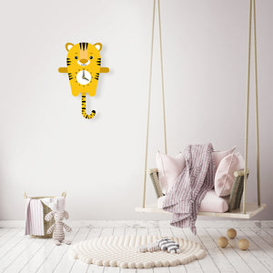 Tiger Wall Clock with pendulum tail - Oddly Wild