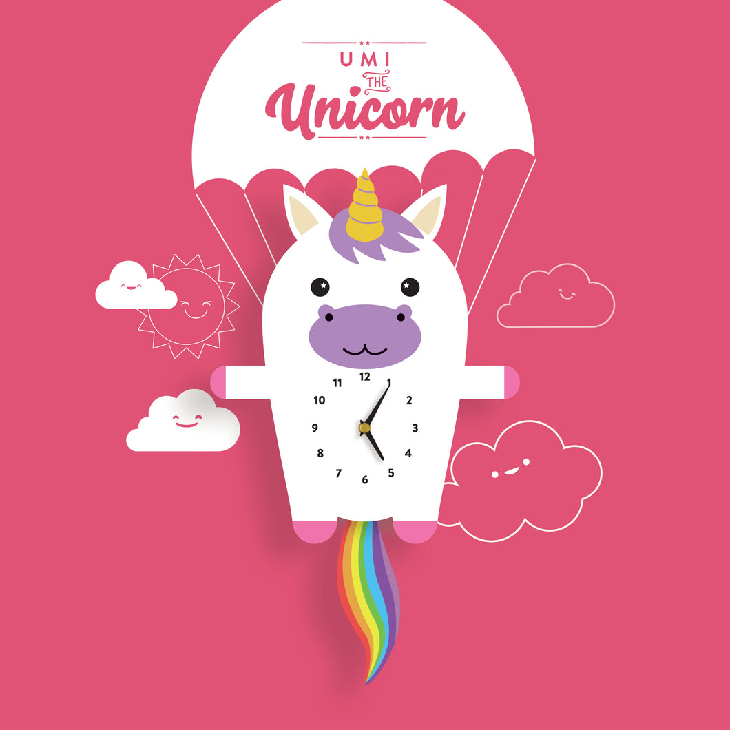 Unicorn Wall Clock with pendulum tail - Oddly Wild
