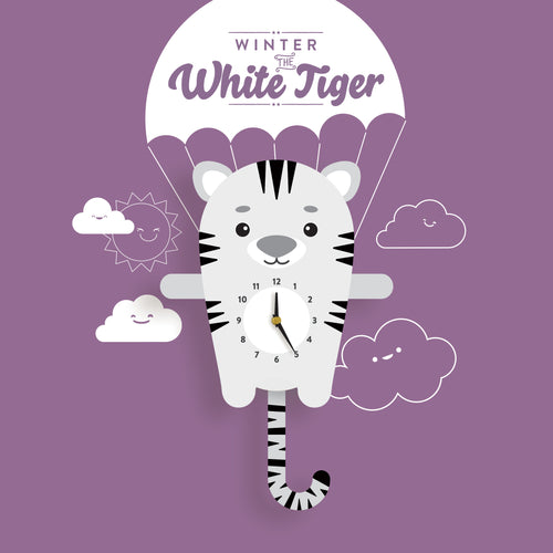 White Tiger Wall Clock with pendulum tail - Oddly Wild