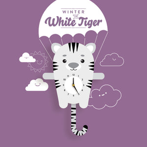 White Tiger Clock with pendulum tail