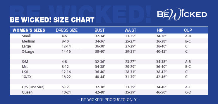 Be Wicked Size Chart