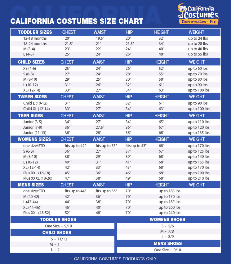 California Costumes Size Chart