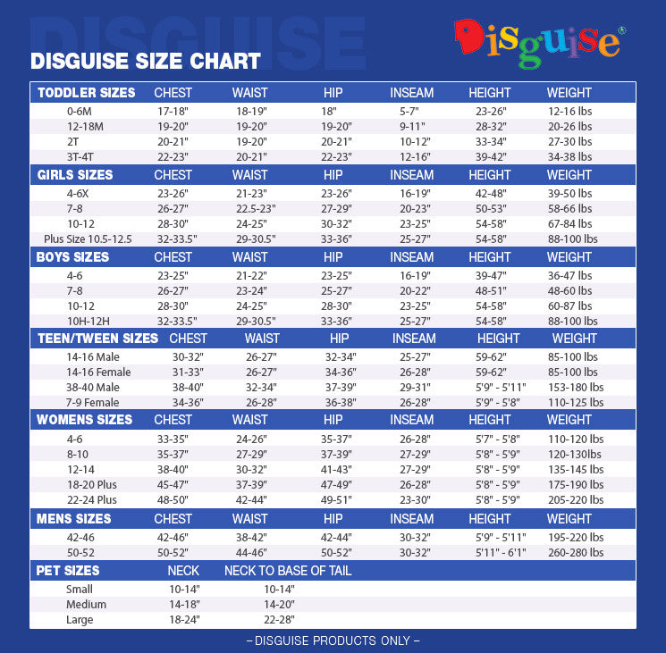 Disguise Size Chart