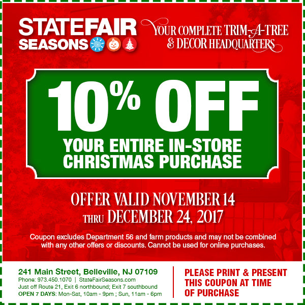 in store coupon - Christmas Tree Store Coupon