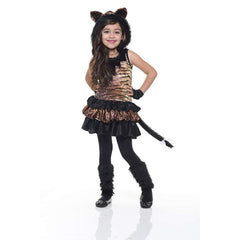 Hooded Velvet Tigress Girl's Costume