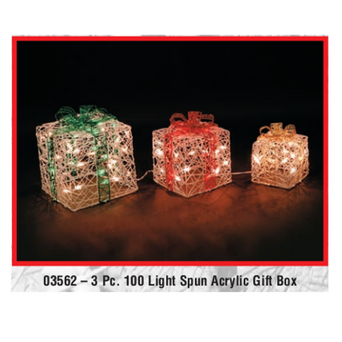 3pc 100 Light Spun Acrylic Gift Box Set