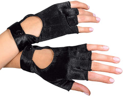 Black Satin Biker Gloves