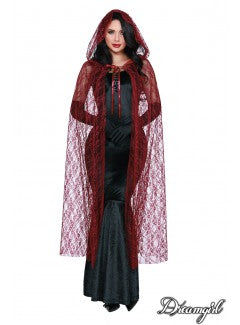 Red Sheer Lace Hooded Cape