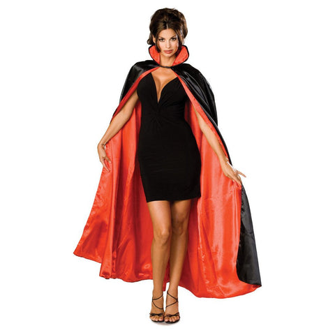 Black/Red Long Satin Reversible Cape