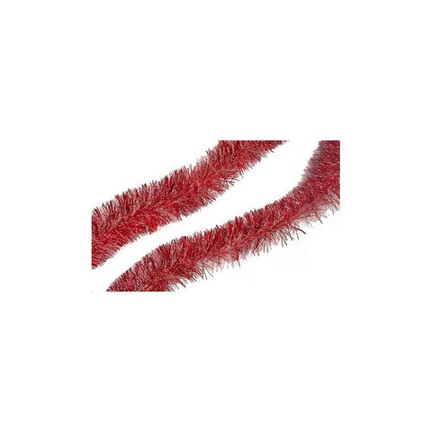 15' Red Snowblush Tinsel Garland