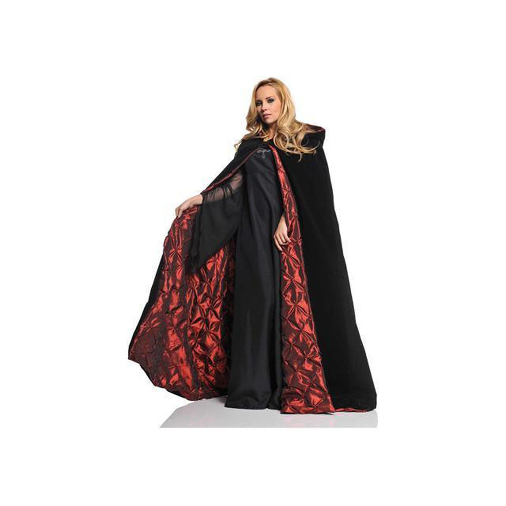 "63"" Deluxe Black Velvet w/Red Pin Tuck Lining Cape"