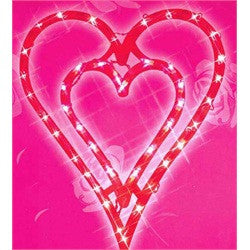 "17"" Lighted Valentine's Day Double Heart Window Silhouette Decoration"