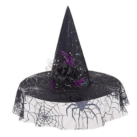 Black Lace Spider Web Witch Hat
