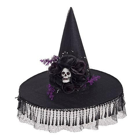 Black Witch Hat with Skull