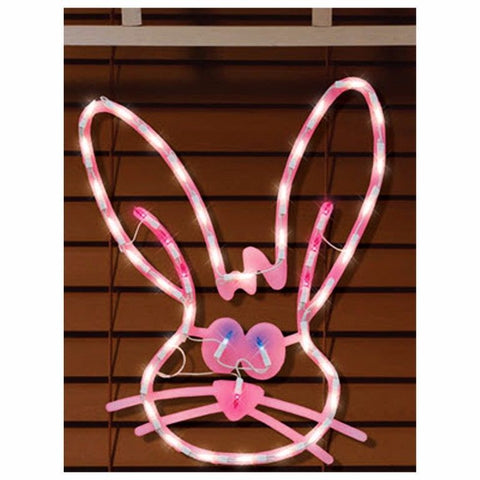 "17"" Pink Easter Bunny Head Window Frame"