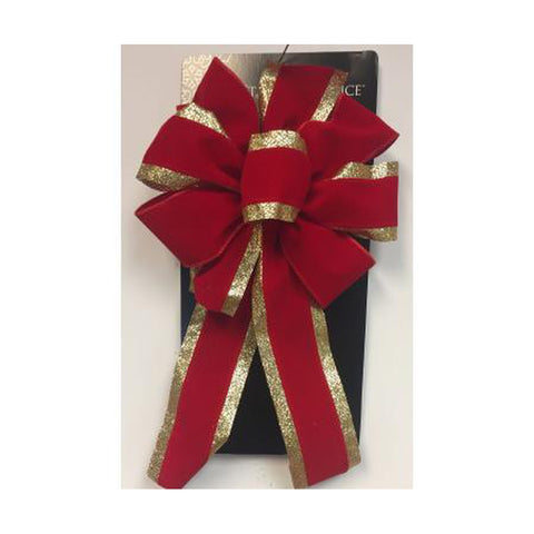 "17"" x 8"" Red Velvet Deluxe Wired Bow"