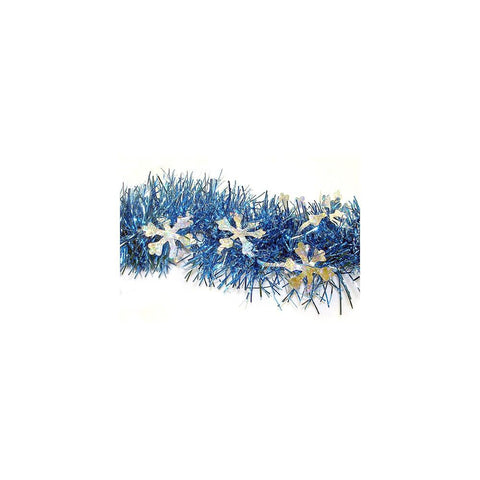 12' Blue Tinsel Garland w/ Silver Holographic Snowflakes