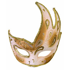 White/Gold Upswing Mask With Ribbon