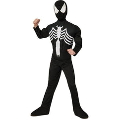Spider-Man Deluxe Black Spider-Man Muscle Chest Boy's Costume