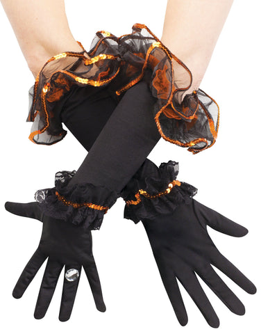 Ruffle Sequin Gloves