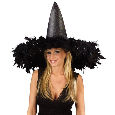 Black Feathered Witch Hat