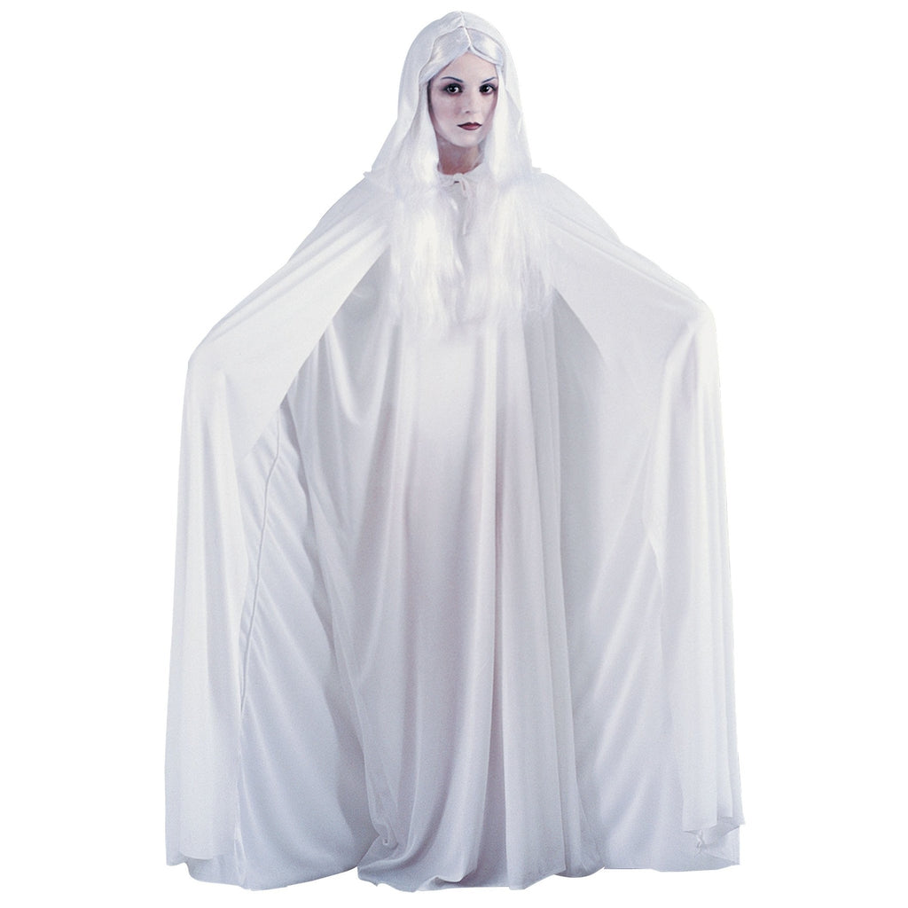 "68"" White Hooded Cape"