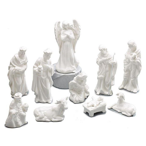 10 pc Nativity White Porcelain Figurine Set