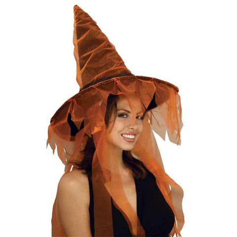 Orange Ghost Witch Hat