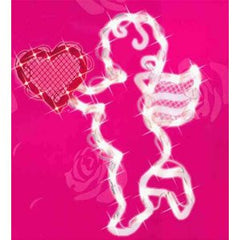 "17"" Lighted Valentine's Day Cupid Heart Window Silhouette Decoration"