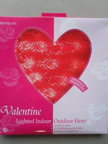 Shimmering Red Heart Window Light Frame