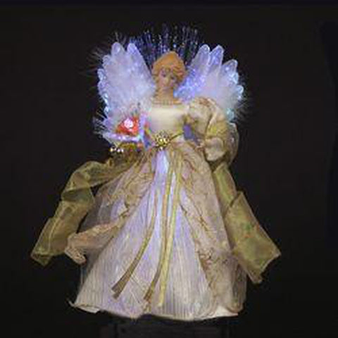 "12"" LED Fiber Optic Ivory and Gold Angel Tree Top"