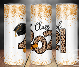 Class of 2021 Leopard Text Stainless Steel Tumbler 20 oz