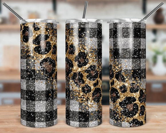 Black Plaid Leopard Stainless Steel Tumbler 20 oz