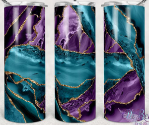 Purple, teal and Gold Tumbler