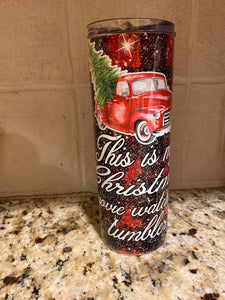 This is my Christmas Movie Watching Tumbler Buffalo Plaid Red truck Stainless Steel Tumbler 20 oz