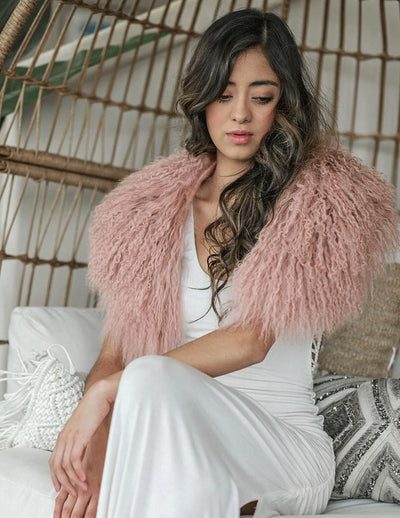 Juniper - Mongolian Fur Collar & Slap On Cuffs in Mauve - Le NUAGE Luxe