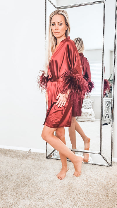 That's Vogue Silk Robe - Merlot - Le NUAGE Luxe