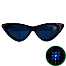 Load image into Gallery viewer, Black Cat Eye Diffraction Glasses