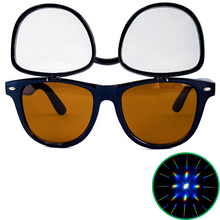 Load image into Gallery viewer, Wayfarer Flip Up Diffraction Glasses
