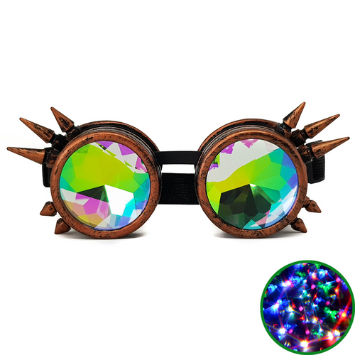 Brushed Copper Steampunk Kaleidoscope Goggles