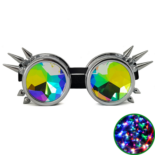 Chrome Steampunk Kaleidoscope Goggles
