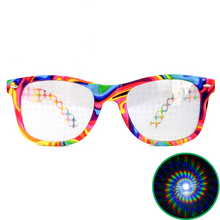 Load image into Gallery viewer, Tie-Dye Wayfarer Spiral Diffraction Glasses