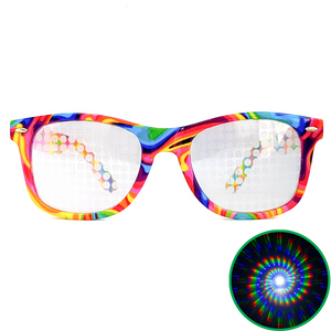 Tie-Dye Wayfarer Spiral Diffraction Glasses