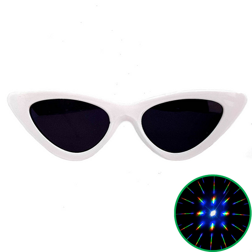White Cat Eye Diffraction Glasses