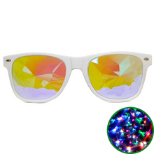 Load image into Gallery viewer, White Wayfarer Kaleidoscope Glasses