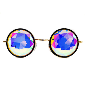 Black Metallic Prism Kaleidoscope Glasses