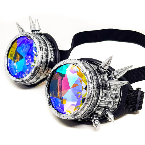 Brushed Chrome Steampunk Kaleidoscope Goggles V2